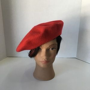 1990's Bright Red Wool Beret Hat Size Small
